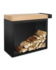 OFYR Butcher Block Storage Black rubberwood