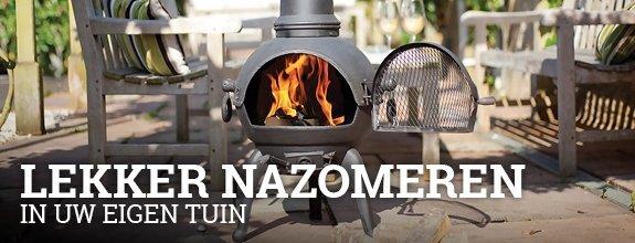 Nazomeren bij Vuurkorfwinkel.nl - Doe inspiratie op en shop de mooiste tuinhaard -