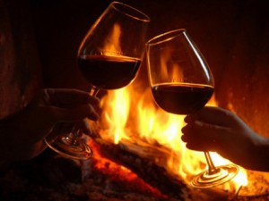 wijn bij het vuur